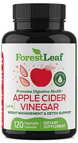 Organic Apple Cider Vinegar Pills - 1200mg, with Cayenne Pepper Powder - All Natural Digestion, Gut and Metabolism Health Supplement for Detoxes and Cleanses – 120 Vegetable Capsules - ForestLeaf