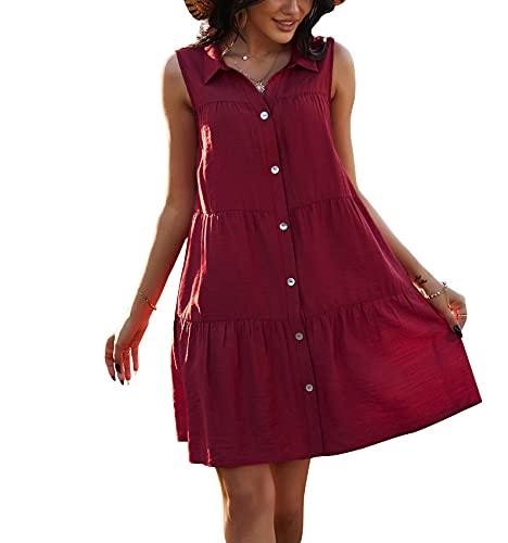 Damen Hemdkragen Einfarbig A-Linien Rock Frühling und Sommer Ärmelloses Kleid Temperament Damenbekleidung