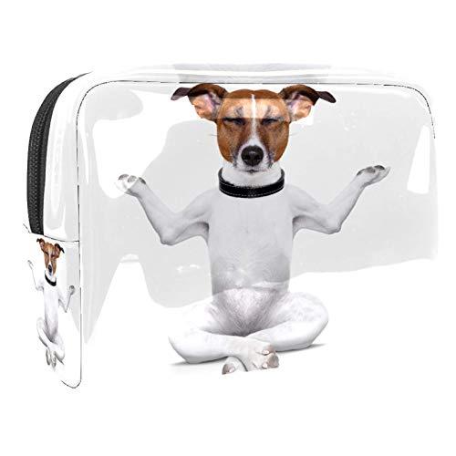 Bolsa de cosméticos para Mujeres Perro de Yoga Sentado con los Ojos Cerrados. Bolsas de Maquillaje espaciosas Neceser de Viaje Organizador de Accesorios