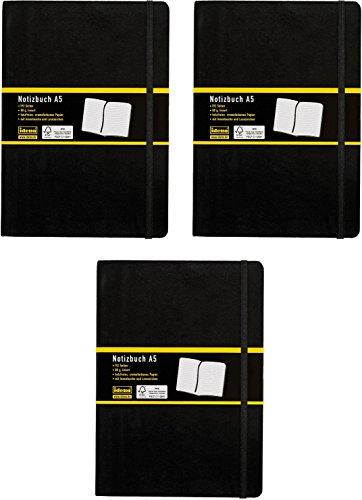 3er Vorteilspack Idena 209284 - Notizbuch, 192 Seiten, 80 g/m², schwarz (DIN A5 | 3 Stück, liniert)