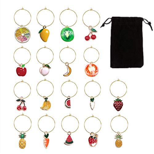 18 Pcs Wine Glass Charms Markers Tags Identification Wine Charms for Stem Glasses Wine Bachelorette Tasting Party Favors Decorations Fruits Themed