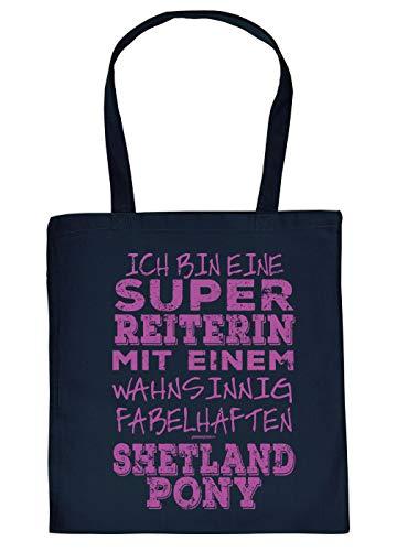 Shetlandpony Tasche - Spruch/Motiv Pferd Stofftasche : super Reiterin - fabelhaften Shetlandpony - Stalltasche Reitsport - Farbe : Navyblau