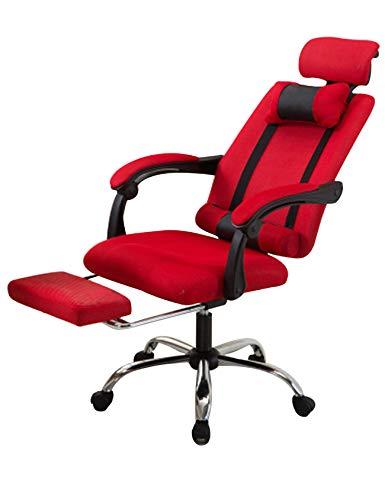 newrong PC Stuhl 360 Grad Drehbar Erweiterbar Bürostuhl Riemenscheibe Ergonomisches Höhenverstellbarer mit 2 Kissen Armlehne rot