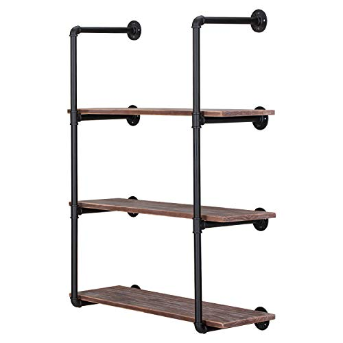 Wallniture Minori Floating Shelves Set of 4, Small Bookshelf Unit for Bedroom, Office, Bathroom, and Living Room, Natural Burned Rustic Wood Wall Decor with Metal Floating Shelf Bracket