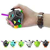 Allaind Dice Fidget Cube Toys Fun 12 Sided Anti-Anxiety Relieve Stress Reduce Tension for Work,Office,School (B2-Black)