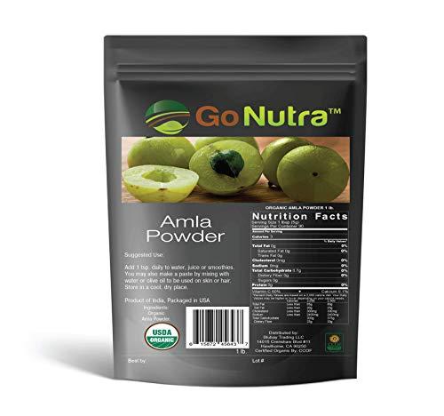 Organic Amla Powder (Amalaki) - 5lb Resealable Bag (1lb) - 100% Raw from India - by Go Nutra Organics 5 lbs
