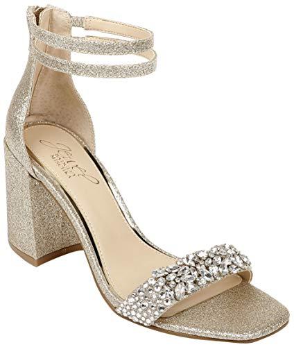 Jewel Badgley Mischka Women's Natala Heeled Sandal, Gold Glitter, 7 Medium US