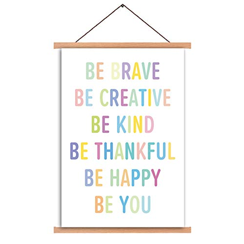 Natural Wood Magnetic Hanger Frame Poster- Inspirational Quotes Motivational Canvas Art Print,Colorful Saying Be Brave Be Happy Be You Painting,40X64cm Frames Hanging Kit