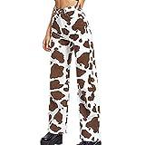 Pantalones De Pierna Ancha Sueltos De Cintura Alta Sueltos con Estampado De Vaca para Mujer Pantalones Vaqueros Lavados