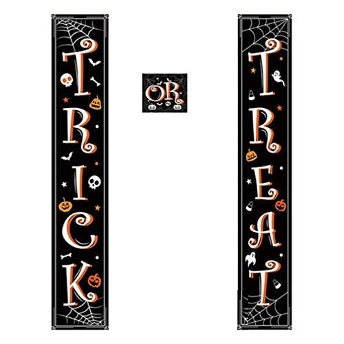 Toyvian 1 par de banner de porta de Halloween para uso ao ar livre, casa, truques ou petiscos, artigos de festa para casal, artigos de festa para porta da frente
