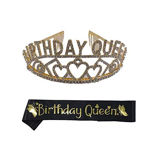 REYOK Birthday Girl Tiara Krone Geburtstag Mädchen Glitter Krone Strass Kristall Dekor Stirnband mit Geburtstag Mädchen Schärpe Birthday Queen Schärpe