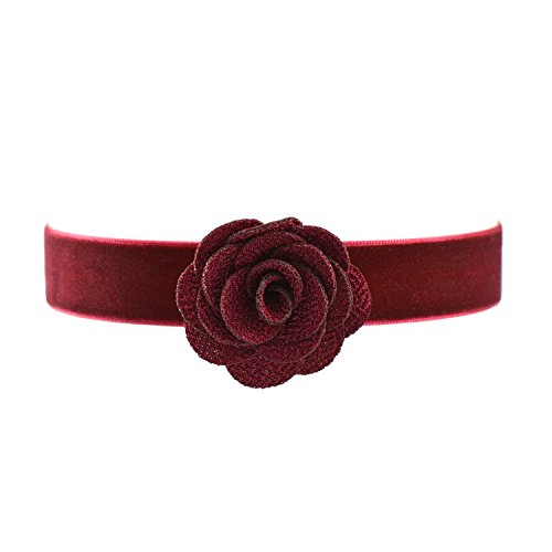 Paialco Wine Red Velvet Belt Gothic Choker Necklace 12-15 Inches Red