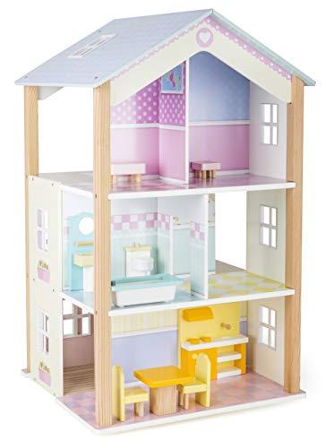 Small Foot 11192 Drehbares Puppenhaus Palast aus Holz, mit 3 Etagen, inkl. Möbel Spielzeug, Mehrfarbig