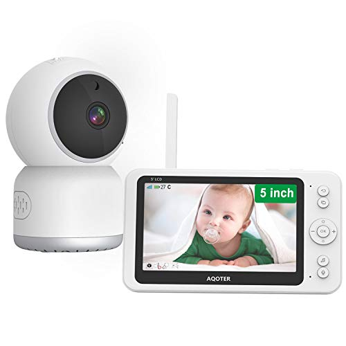 Vigilabebés Inalambrico Bebé Monitor con 5' 1080P Pantalla LCD, Monitor Bebe Cámara Full HD de 355 ° con Visión Nocturna, Sensor de Temperatura y VOX, Audio Bidireccional, 6 Canción Cuna