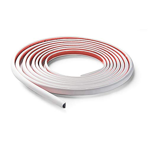 Famatel 71501A Canal eléctrico Flexible autoadhesiva | 5 Metros | 10 x 10 mm | Fácil Montaje | Cinta Adhesiva ya incorporada | Gris, Blanca