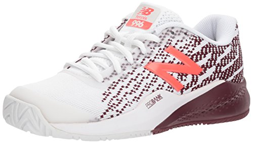 New Balance Women's 996 V3 Hard Court Tennis Shoe, White/Oxblood, 8 2E US