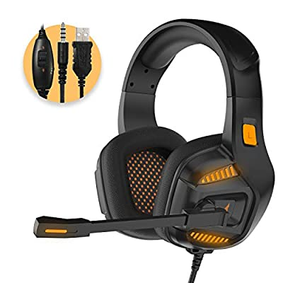 PS4 Gaming Headset,Xbox One Headset with 7.1 Surround Sound Stereo,Gaming Headphones with Noise Cancelling Mic,Soft Memory Over Ear PS4 Headset with LED Light for PC/Xbox one/Mac/ PS4
