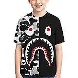Bape Shark Kids Shirt 3D Print Short Sleeve Fashion Graphics Tops Tee for Girls and Boys Large