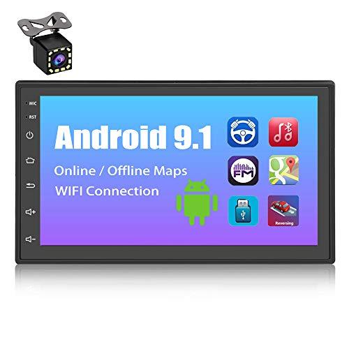 YYKJ Android 9.1 Autoradio Navigation GPS 2 DIN, 7 Pouces TFT Écran Tactile WiFi/Bluetooth Mains Libres Multimédia Voiture Stéréo avec WiFi, Lien Miroir, Radio FM, Deux USB Port + Caméra de recul