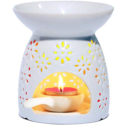 AI·X·IANG Ceramic Tealight Oil Burner with Tea Light Holder, Aromatherapy Essential Oil Diffuser, Scented Wax Warmer, Great Decoration for Living Room, Balcony, Patio, Porch and Garden, Vase Shape