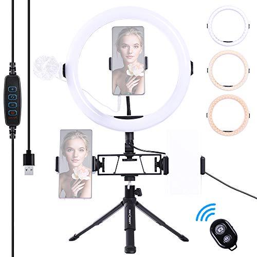 Ringlicht mit Stativ K&F Concept Ringleuchte 11 Zoll LED Selfie Ring Licht, Tischringlicht mit 3 Farbe und 11 Helligkeitsstufen, Blitzgeräte 10W für Smartphone Kamera Porträt YouTube Video Aufnahme