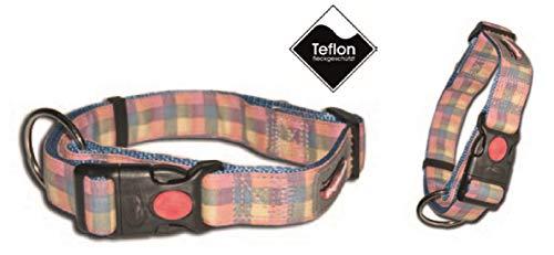 Greyhound Hundehalsband Halsband Rosa Blau kariert 15-20 cm Teflon (XXS)