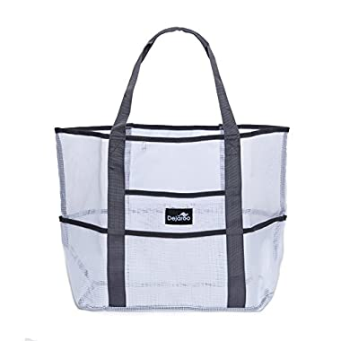 Dejaroo Mesh Beach Bag – Toy Tote Bag – Large Lightweight Market, Grocery & Picnic Tote with Oversized Pockets (White with Grey handles)