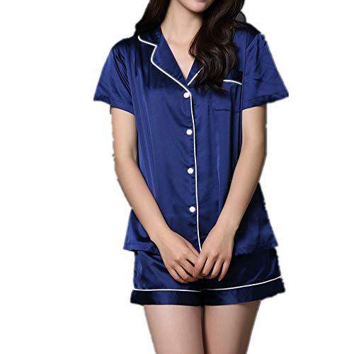 Pijama de seda para mujer, de verano, sexy, suelto, simple, de color sólido, pantalones cortos de manga corta, ropa casual para el hogar, conjunto de dos piezas