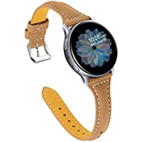 Joyozy Leather Band Compatible with Galaxy Watch Active/Active2/Watch3 (Soft Coffee)