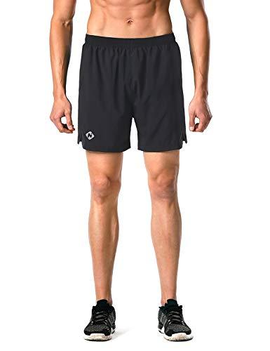 "Naviskin Men's 5"" Quick Dry Running Shorts Workout Athletic Outdoor Shorts Zip Pocket Black Size L"