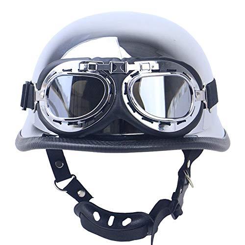 Medias cascos de motocicleta con gafas, casco para adultos, hombres y mujeres, casco abierto, aprobado por DOT/ECE, para hombres y mujeres, casco de motociclista, scooter XL(61-62CM)