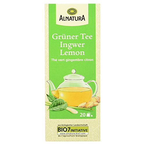 Alnatura Bio Grüner Tee Ingwer Lemon, 20 x 1.5g