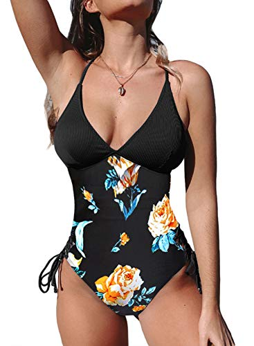 Diukia Women's Tummy Control One Piece Bathing Suits Sexy V Neck Floral Print Criss Cross Back Swimsuits Side Tie One Piece Swimsuits Black XL