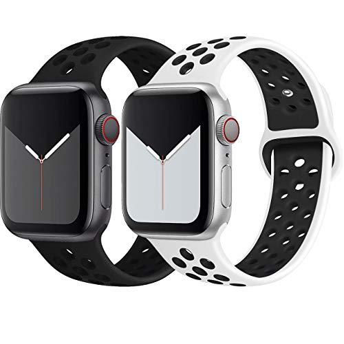 INZAKI Kompatibel mit Apple Watch Armband 42mm 44mm,weich atmungsaktives Silikon Sport Ersatzband für Armband für iWatch Serie 5/4/3/2/1,Nike+,Sport,wasserdicht,M/L,BlackBlack/Whiteblack