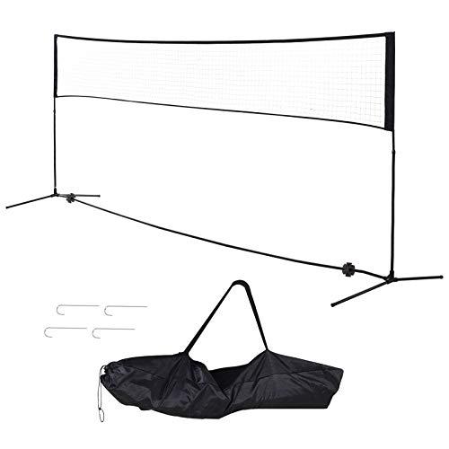 HOMCOM Filet de Badminton/Loisirs 5 m - Hauteur réglable 1,58 m Max. - Filet Portable avec Support Pieds et piquets - Sac de Transport Inclus