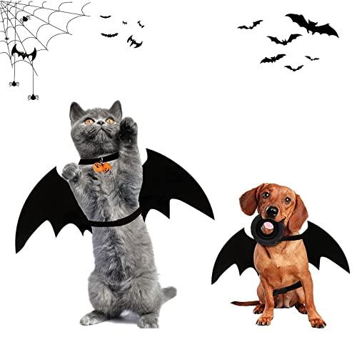 Costume De Chien De Chat d'halloween, Costume pour Chat Halloween, Costumes Halloween Chien, Vêtements de Chauve-Souris pour Chats avec Cloche de Citrouille, pour Petits Chiens, Chats