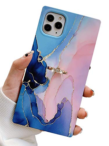 KERZZIL Metal Kickstand iPhone 11 Pro Max Marble Case Design with Ring Holder, Square Matte Soft TPU Silicone Gel Shockproof Protective Cases Cover for Apple iPhone 11 Promax 6.5-inch(Blue & Pink)