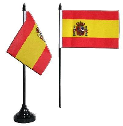 Tischflagge / Tischfahne Spanien mit Wappen + gratis Aufkleber, Flaggenfritze®