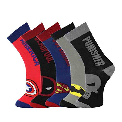 5 paar Superhero sokken Character sokken bruiloft sokken Cartoon sokken MES fit UK maat 5-10