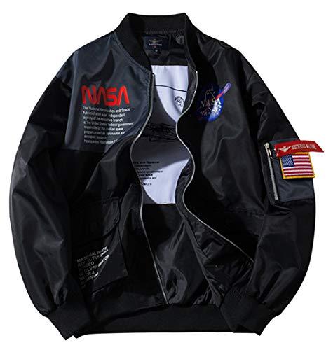 SSRSH Jacke Herren NASA MA-1 Militär Bomberjacke Langarm Frühling-Sommer Mantel Regenjacke Windbreaker Coole Jacke Streetwear mit Reißverschluss Fliegerjacke (Small, Schwarz)