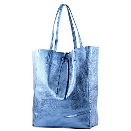modamoda de - T163 - Ital. Shopper mit Innentasche aus Leder, Farbe:Jeansblau-Metallic
