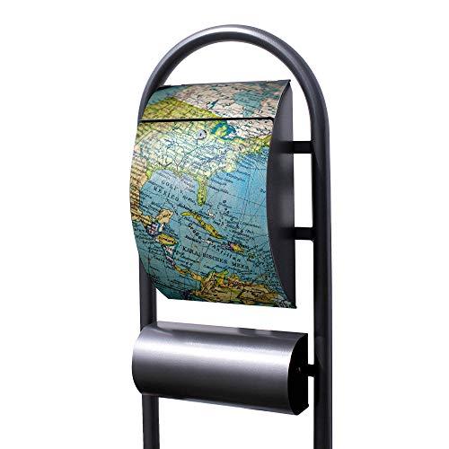 Banjado Briefkasten Hammerschlag-Optik mit Ständer | Postkasten freistehend 150x44x14cm | Standbriefkasten mit Zeitungsfach Motiv Globus