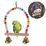 Liudan Loros de Madera Naturales Swing Toy Birds Perch Columpios Columpios Cause con Cuentas Coloridas Bells Toys Fuentes de Aves