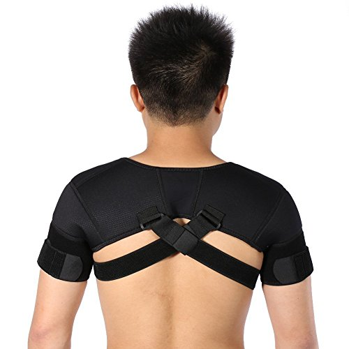 ZJchao Double Shoulder Support Belt, Neoprene Adjustable Brace Correction Band for Protector Shoulder Injury Prevention and Help Recovery (M)