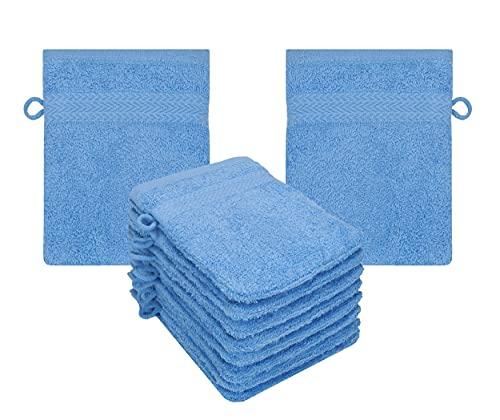 Betz Lot de 10 Gants de Toilette Taille 16x21 cm 100% Coton Premium Couleur Bleu Clair