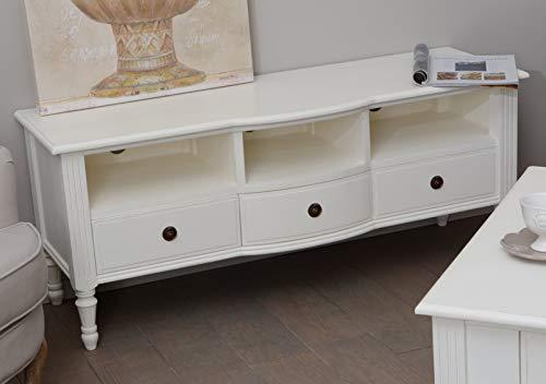 Meuble TV à 3 tiroirs en bois, hauteur 120 cm, Amadeus