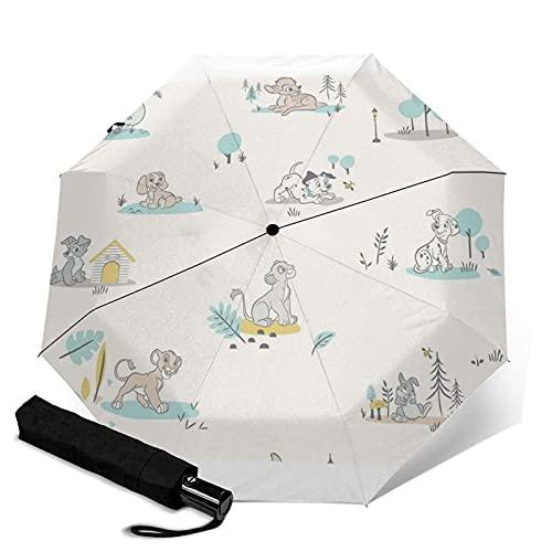 Taschenschirme 101 Dalmatian Bambi Lady Tramp Automatic Portable Triple Folding Umbrella Compact and Portable Foldable Windbreak Waterproof Anti-UV Umbrellas