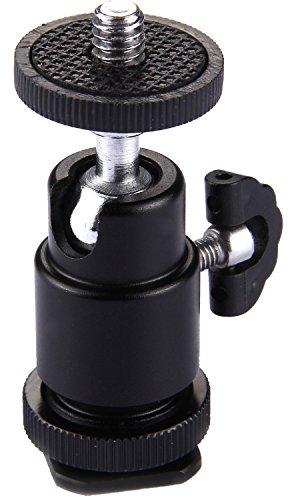 Blitzschuh Aluminium Kugelkopf Stativ mit ¼ Zoll Außengewinde   360° Metall Mini-Kugelkopf   Hot-Shoe Montage   Blitzschuh-Adapter   Halterung für...