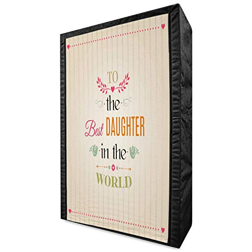 "Ambesonne Daughter Portable Fabric Wardrobe, Vertical Striped Background to The Best Daughter in The World Words Love Theme, Clothing Organizer and Storage Closet with Shelves, 42.5"", Multicolor"