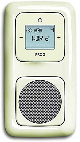 Busch Jäger Unterputz UP Digitalradio 8215 U (8215U) cremeweiß Komplett-Set DURO2000® Lautsprecher + Radioeinheit + Abdeckungen in 2 fach Rahmen integriert